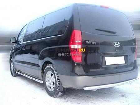 Hyundai H1 2007-наст.вр.-Защита заднего бампера радиусная одинарная d-60